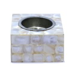 Small White Color Mop Square Candle Holder