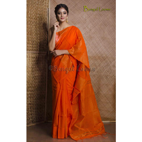 e98e1e7acd179a Handloom Khadi Cotton Silk Saree with Temple Border in Bright Orange and  Gold