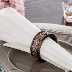 Round Embossed Brass Antique Napkin Ring