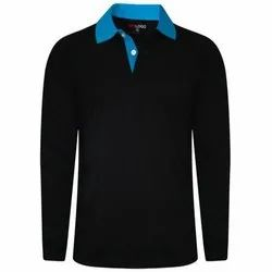 Mens Black Full Sleeves Polo T Shirt