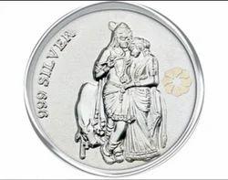 Silver Radha Krishna Print Coin