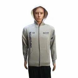 Hooded Printed Corporate Grey Sweatshirt
