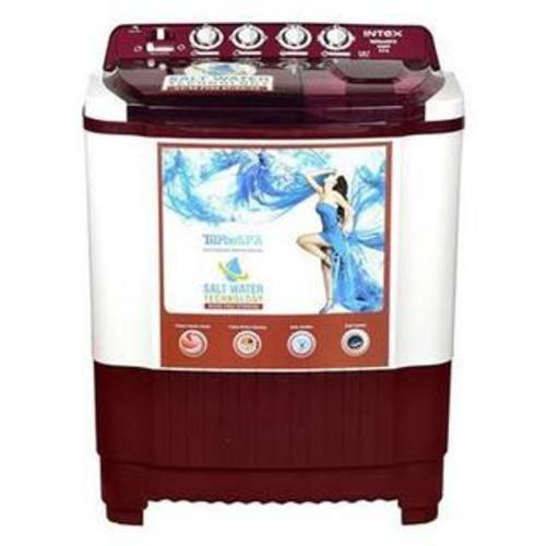 INTEX 8 kg Semi Automatic Top Load Washing Machine, WMSA80CR, White &...