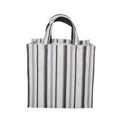 Printed White, Black Allover Stripe Print PP Laminated Jute Bag, Size: 37 X 37 X 20 Cm (W X H X L), Capacity: 10 Kgs