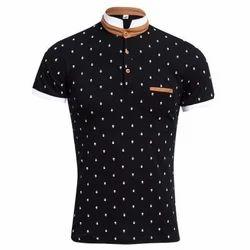 Summer Print Polo Short Sleeve Stretchy Men Casual T-Shirt