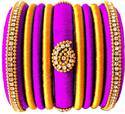 Purple And Yellow Silk Thread Bangles Set