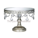 Silver Color Metal Cake Stand With Glass Top