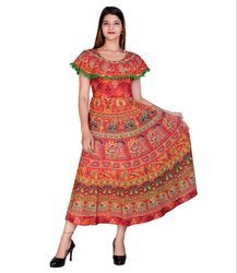 Half Sleeves Jaipuri Printed Pom Pom Attached Frock