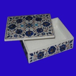 Marble Jewellery Box With Stone Inlaid Work