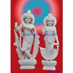 Radha Krishna White Makrana Marble Statue
