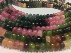 Ganesh Multicolor Afghani Tourmaline Plain Rondelle Beads, Size: 6-7mm