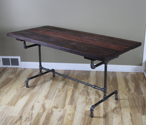 Beau Reclaimed Wood Industrial Dining Table With Steel Legs