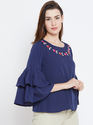 100 % Crepe Women Frill Sleeve White Top