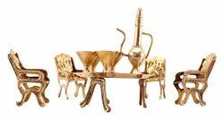 Golden Indian Art Villa Brass Decor Maharajah Dining Set, For Decoration