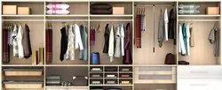 Brown Modern Wooden Modular Wardrobe