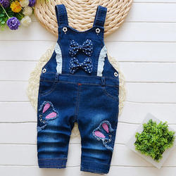 Trendy Bow Applique Dungaree
