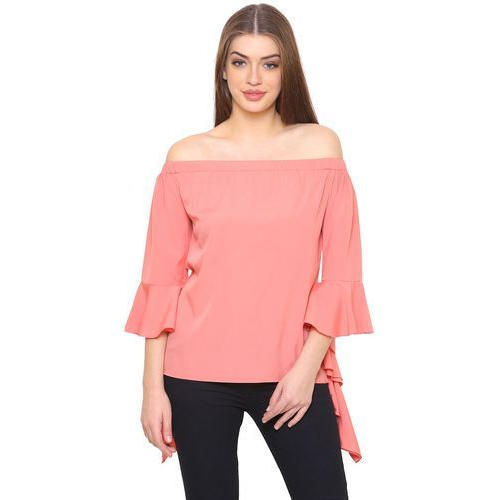 1fcadb03c65 Polyester Crepe Pink Bell Sleeve Off Shoulder Ladies Top, Rs 275 ...