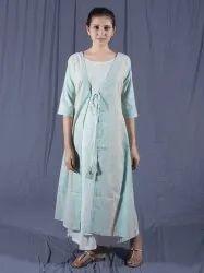 Deep Blue Cotton Dress with Jacket, Size: XS to XXL