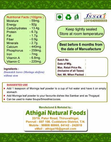 Organic Moringa Leaf Powder, Packaging