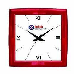 White, Maroon Plastic Promotional Analog Wall Clock