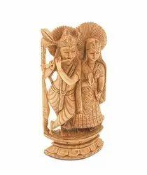 10 Inch Wooden Radha Krishna Statue