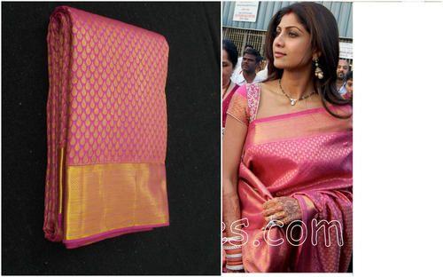 085ca6918b93c6 Festive Wear Half fine Zari Gold Kanchipuram Pure Silk Saree, With Blouse  Piece