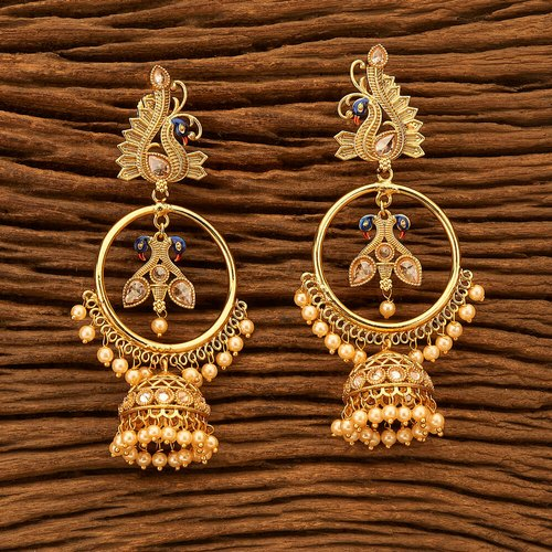 Gold Plated Antique Peacock Earring 200513