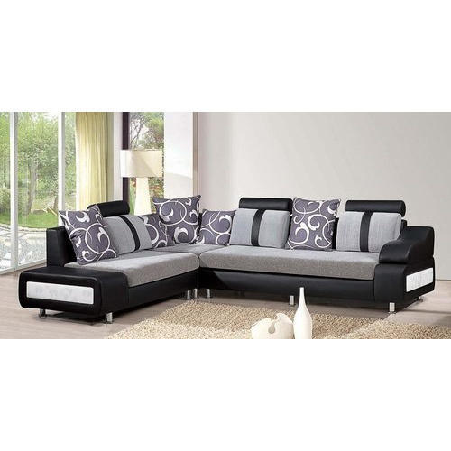 Leather L Shape Sofa Set For Home Hotel Seating Capacity 5