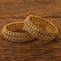 Copper Antique Openable Bangles With Mehndi Plating 200475