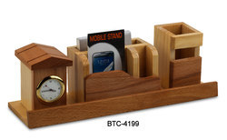 Wooden Desktop with Clock with Pen Stand & Card Holder for Promotional Gift