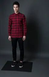 Check Red Full Sleeve Men Casual Cotton Twill Shirt