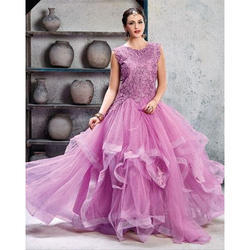 Large And XL Net Ladies Party Wear Gown