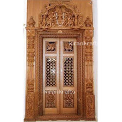 Wood Brown Carved Pooja Room Door