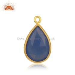 Designer Gold Plated Silver Blue Chalcedony Gemstone Charm Finding Jewelry