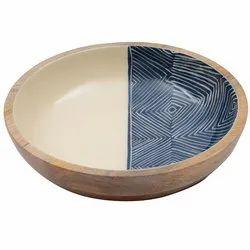 Exclusive Enamel Print Round Wooden Bowl