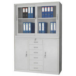 Library Almirah in Wooden 4 Glass Palla Model