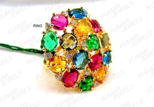 Kumar Jewels Multicolor Designer Colored Stone Fashion Finger Ring