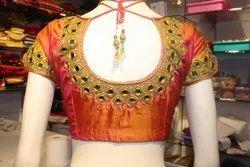 Orange Mirror Work Bridal Blouse