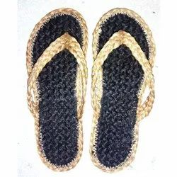 Daily wear Black Fancy Jute Slippers, Size: Available In 5, 6 And 7