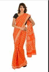 Orange Printed Dabu Discharge Print Saree With Blouse