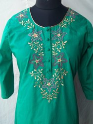 ledies embroadary neck cotton dress