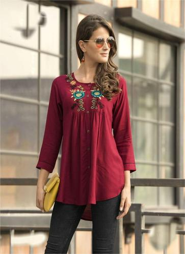 34e87d996ca6a8 Rayon Embroidered Fancy Top