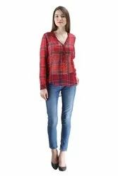 Uptown Galeria Georgette Red Check Ladies Shirt