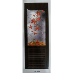 Plastic Hinged PVC Glass Floral Printed Door, For Bathroom, Interior