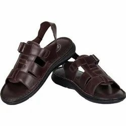 Leather Mens Brown Sandals, Packaging Type: Box