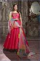 Lightening Pink Anarkali Stylish With Net Dupatta Party Wear Gown