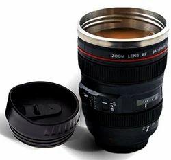 Black PVC Camera Lens Mug