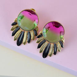 Trazaa Pink & Green Stone Earrings