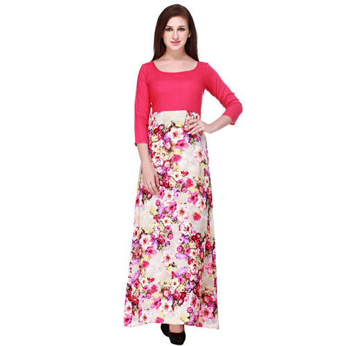 9bf38b047be Cottinfab Women  s Viscose Rayon Floral Pink Maxi Dress
