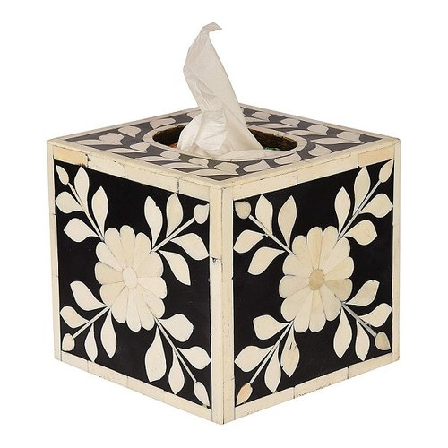 Handmade Indian Tissue Box White Inlaid